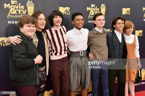 Actors Jeremy Ray Taylor Wyatt Oleff Finn Wolfhard Chosen Jacobs Jaeden Lieberher Jack Dylan Grazer and Sophia Lillis attend the 2018 MTV Movie And...