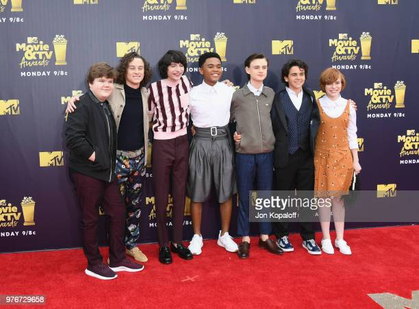 Actors Jeremy Ray Taylor Wyatt Oleff Finn Wolfhard Chosen Jacobs Jaeden Lieberher Jack Dylan Grazer and Sophia Lillis attend the 2018 MTV Movie And...