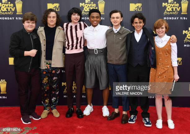 Actors Jeremy Ray Taylor Wyatt Oleff Finn Wolfhard Chosen Jacobs Jaeden Lieberher Jack Dylan Grazer and Sophia Lillis attend the 2018 MTV Movie TV...