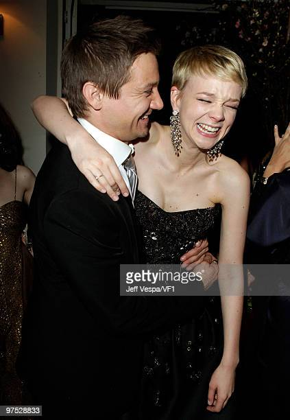 Actors Jeremy Renner and Carey Mulligan attend the 2010 Vanity Fair Oscar Party hosted by Graydon Carter at the Sunset Tower Hotel on March 7, 2010...