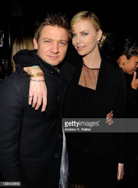 Actors Jeremy Renner and Charlize Theron attend the after party for the Cinema Society Dior Beauty screening of Young Adult at the The Double Seven...