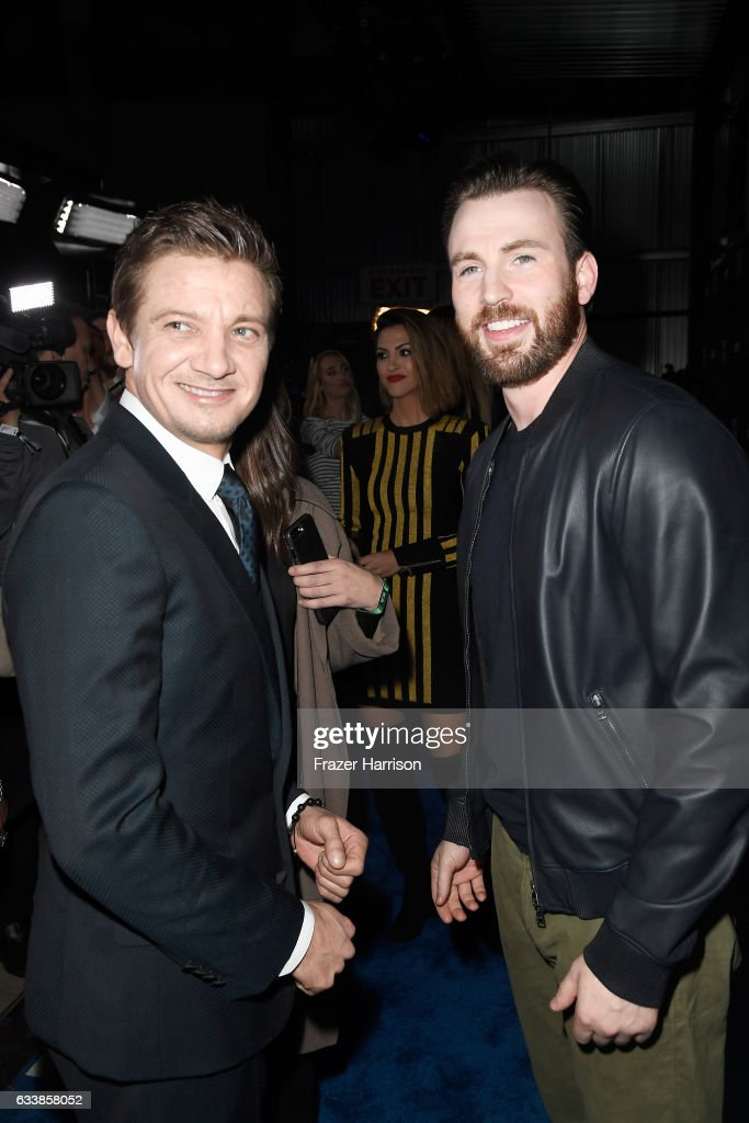 Actors Jeremy Renner (L) and Chris Evans attend the 2017 DIRECTV NOW Super Saturday Night Concert at Club Nomadic on February 4, 2017 in Houston, Texas.