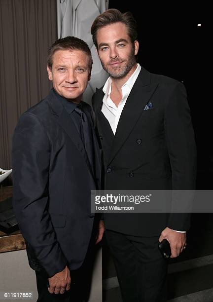 Actors Jeremy Renner and Chris Pine attend the MPTF 95th anniversary celebration with 'Hollywood's Night Under The Stars' at MPTF Wasserman Campus on...