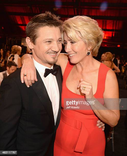 Actors Jeremy Renner and Emma Thompson attend the 19th Annual Critics' Choice Movie Awards at Barker Hangar on January 16 2014 in Santa Monica...
