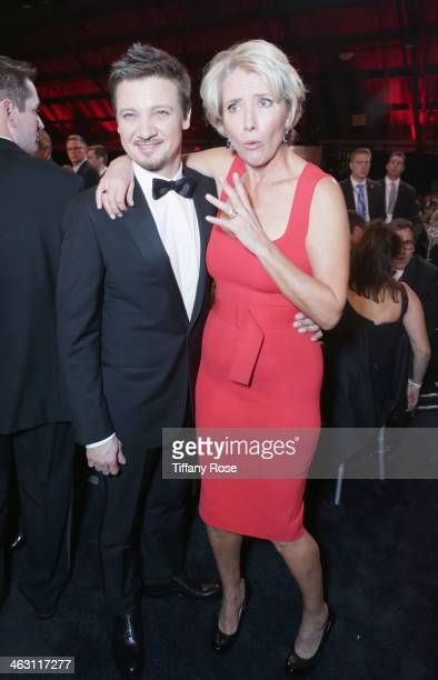 Actors Jeremy Renner and Emma Thompson with Champagne Nicolas Feuillatte attend the 19th Annual Critics' Choice Movie Awards at Barker Hangar on...