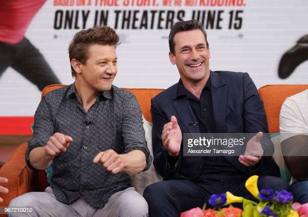 Actors Jeremy Renner and Jon Hamm are seen on the set of Despierta America at Univision Studios to promote the film TAG on June 4 2018 in Miami...