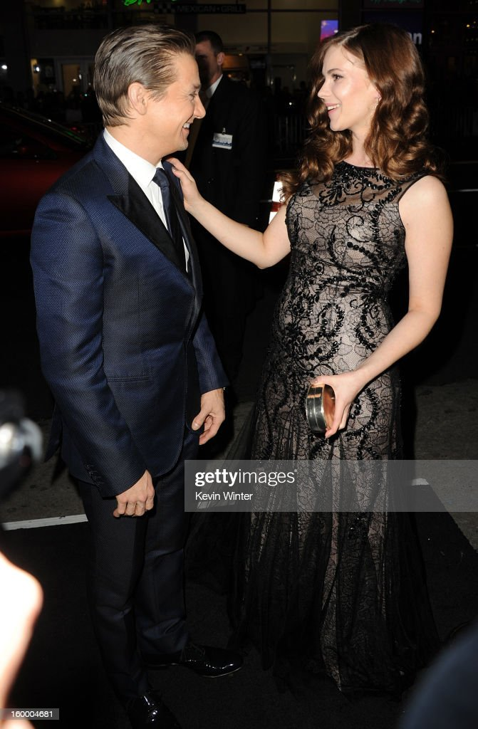 Actors Jeremy Renner and Pihla Viitala arrive for the Los Angeles premiere of Paramount Pictures' 'Hansel And Gretel Witch Hunters' at TCL Chinese Theatre on January 24, 2013 in Hollywood, California.