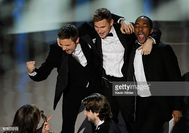 Actors Jeremy Renner Brian Geraghty and Anthony Mackie accept Best Picture award for The Hurt Locker onstage during the 82nd Annual Academy Awards...