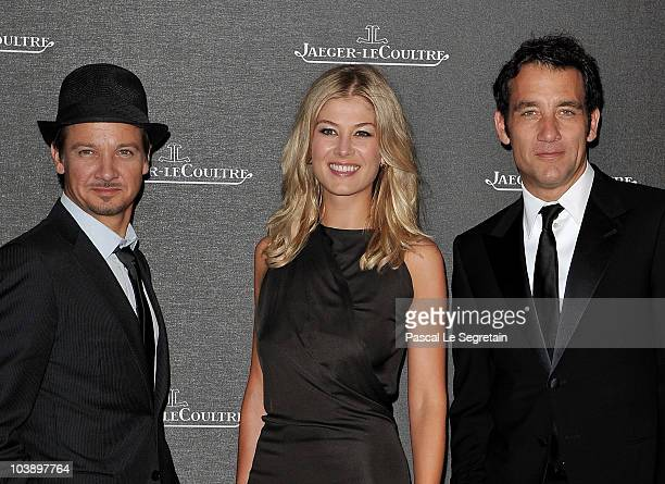 Actors Jeremy Renner Rosamund Pike and Clive Owen attends the Jaeger LeCoultre Party during the 67th Venice Film Festival at the Teatro alle Tese on...