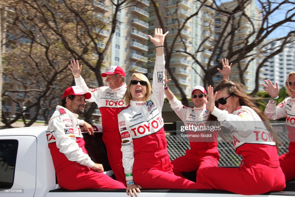 Actors Jeremy Sisto, Jenna Elfman, Jackson Rathbone and Kate Del Castillo attend the 37th Annual Toyota ProCelebrity Race on April 20, 2013 in Long Beach, California.