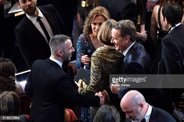 Actors Jeremy Strong and Bryan Cranston in the audience during the 88th Annual Academy Awards at the Dolby Theatre on February 28 2016 in Hollywood...