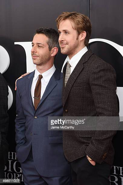 Actors Jeremy Strong and Ryan Gosling attend the premiere of The Big Short at Ziegfeld Theatre on November 23 2015 in New York City