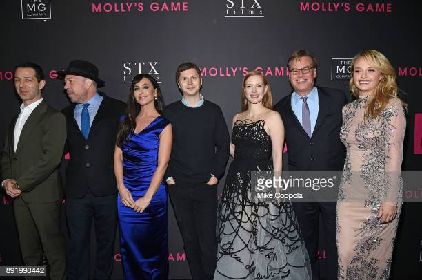 Actors Jeremy Strong Bill Camp Poker player Molly Bloom Michael Cena Jessica Chastain Director Aaron Sorkin and Madison McKinley attend 'Molly's...