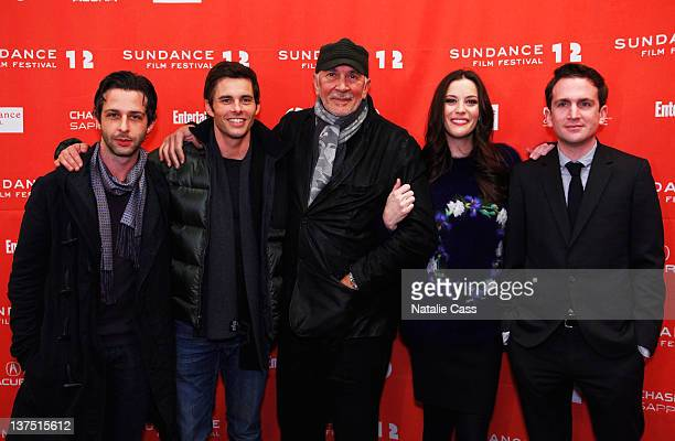 Actors Jeremy Strong James Marsden Frank Langella Liv Tyler and director Jake Schreier attend Robot And Frank Premiere during the 2012 Sundance Film...