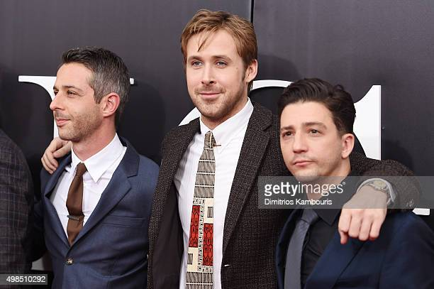 Actors Jeremy Strong Ryan Gosling and John Magaro attend the premiere of The Big Short at Ziegfeld Theatre on November 23 2015 in New York City