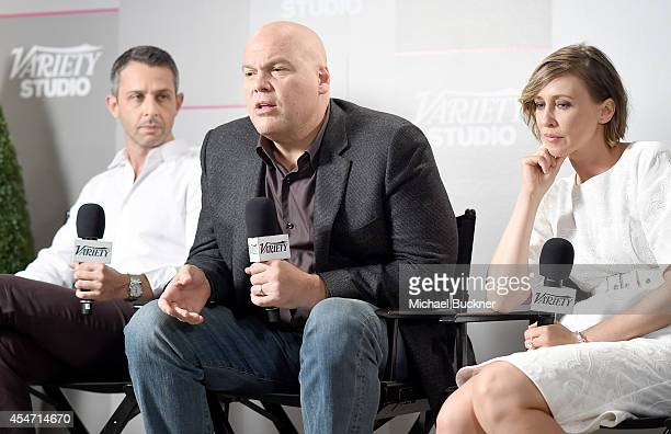 Actors Jeremy Strong, Vincent D'Onofrio, and Vera Farmiga attend the Variety Studio presented by Moroccanoil at Holt Renfrew during the 2014 Toronto...