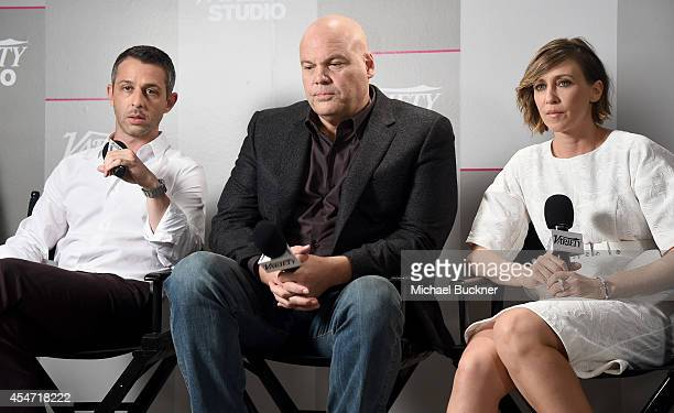 Actors Jeremy Strong Vincent D'Onofrio and Vera Farmiga attend the Variety Studio presented by Moroccanoil at Holt Renfrew during the 2014 Toronto...