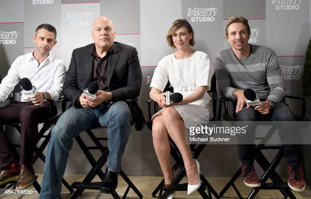 Actors Jeremy Strong Vincent D'Onofrio Vera Farmiga and Dax Shepard attend the Variety Studio presented by Moroccanoil at Holt Renfrew during the...