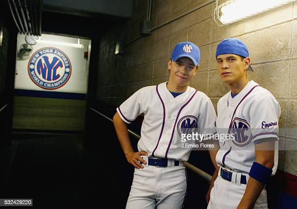 Actors Jeremy Sumpter plays the lead role as Pete Young and JD Pardo plays baseball player Jose Marquez from the new CBS series TV drama Clubhouse...
