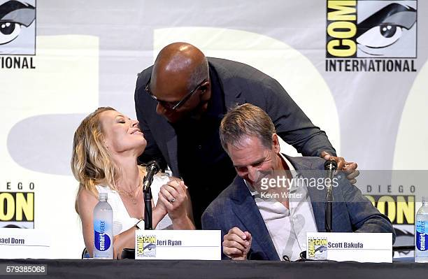 Actors Jeri Ryan Michael Dorn and Scott Bakula attend the 'Star Trek' panel during ComicCon International 2016 at San Diego Convention Center on July...