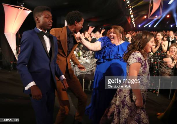 Actors Jermel Nakia Niles Fitch Cristine Metz and Victoria Macabu celebrate after winning the award for Outstanding Performance for by an Ensemble in...