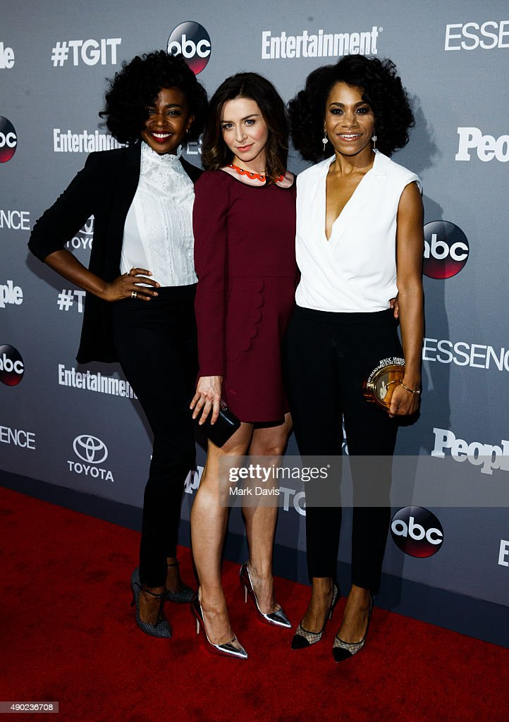 Actors Jerrika Hinton, Caterina Scorsone and Kelly McCreary attend the celebration of ABC's TGIT Line-up held at Gracias Madre on September 26, 2015 in West Hollywood, California.