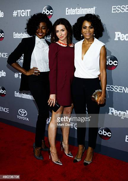 Actors Jerrika Hinton Caterina Scorsone and Kelly McCreary attend the celebration of ABC's TGIT Lineup held at Gracias Madre on September 26 2015 in...