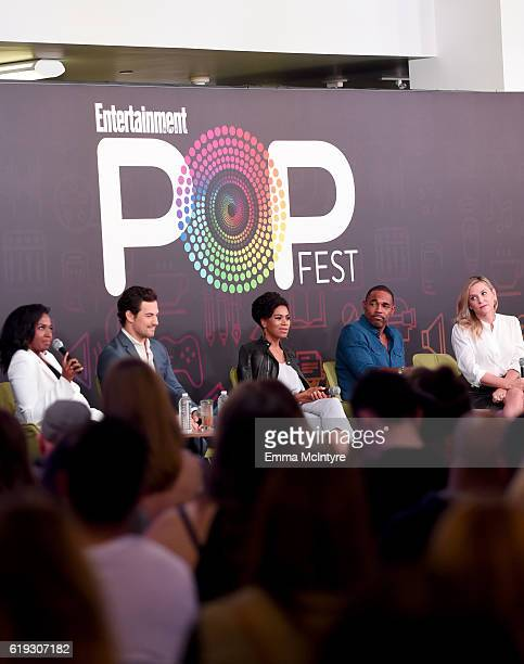 Actors Jerrika Hinton Giacomo Gianniotti Kelly McCreary Jason George and Jessica Capshaw speak onstage during the Three Rounds with cast of Grey's...