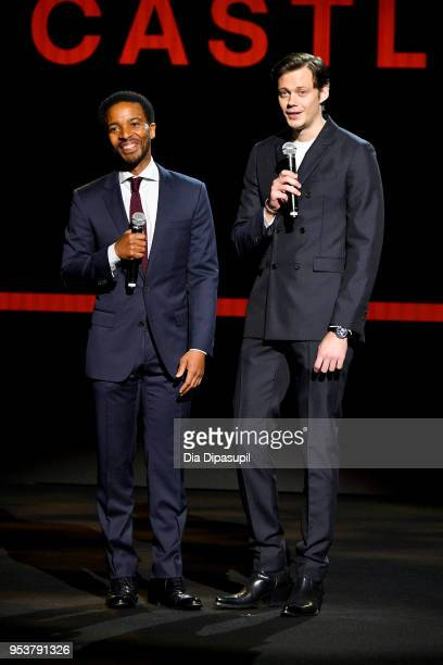 Actors Jerrod Carmichael and Bill Skarsgard speak onstage during Hulu Upfront 2018 at The Hulu Theater at Madison Square Garden on May 2 2018 in New...