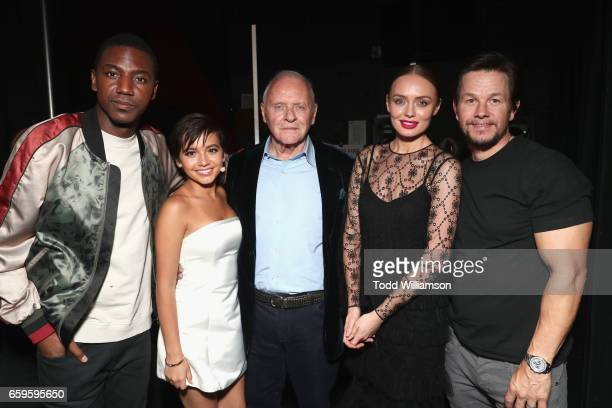 Actors Jerrod Carmichael Isabella Moner Anthony Hopkins Laura Haddock and Mark Wahlberg at CinemaCon 2017 Paramount Pictures Presentation...