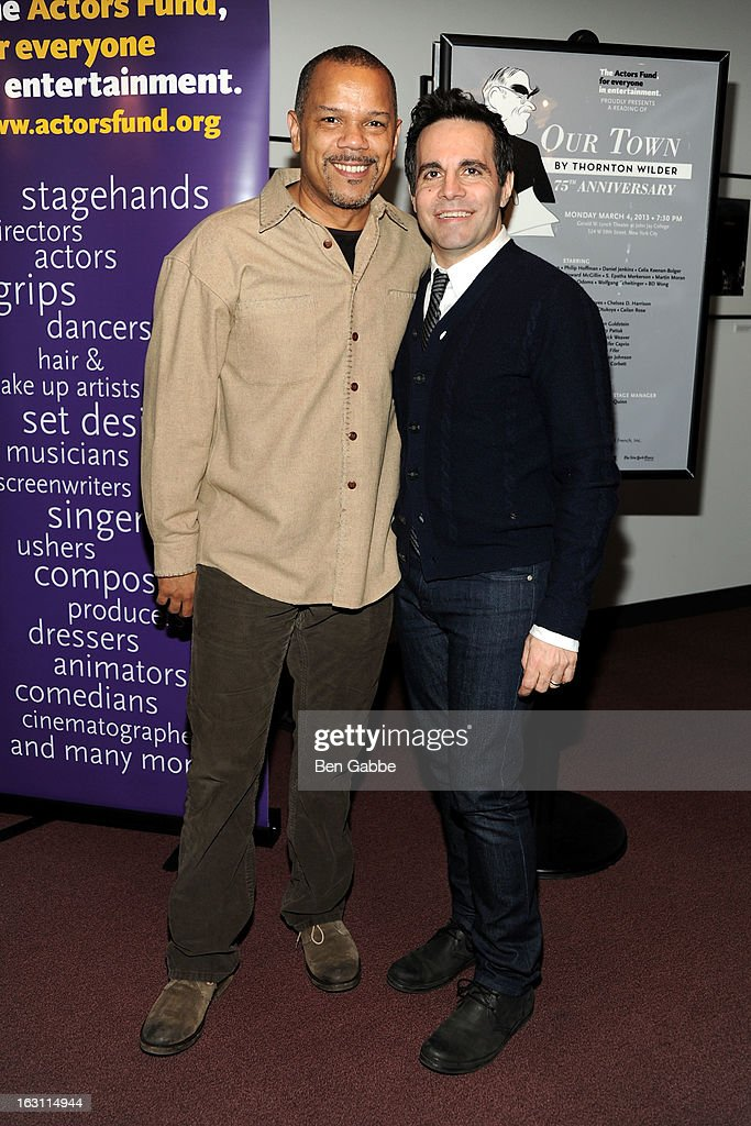 Actors Jerry Dixon (L) and Mario Cantone attend 'Our Town' Benefit Performance at the Gerald W. Lynch Theatre on March 4, 2013 in New York City.
