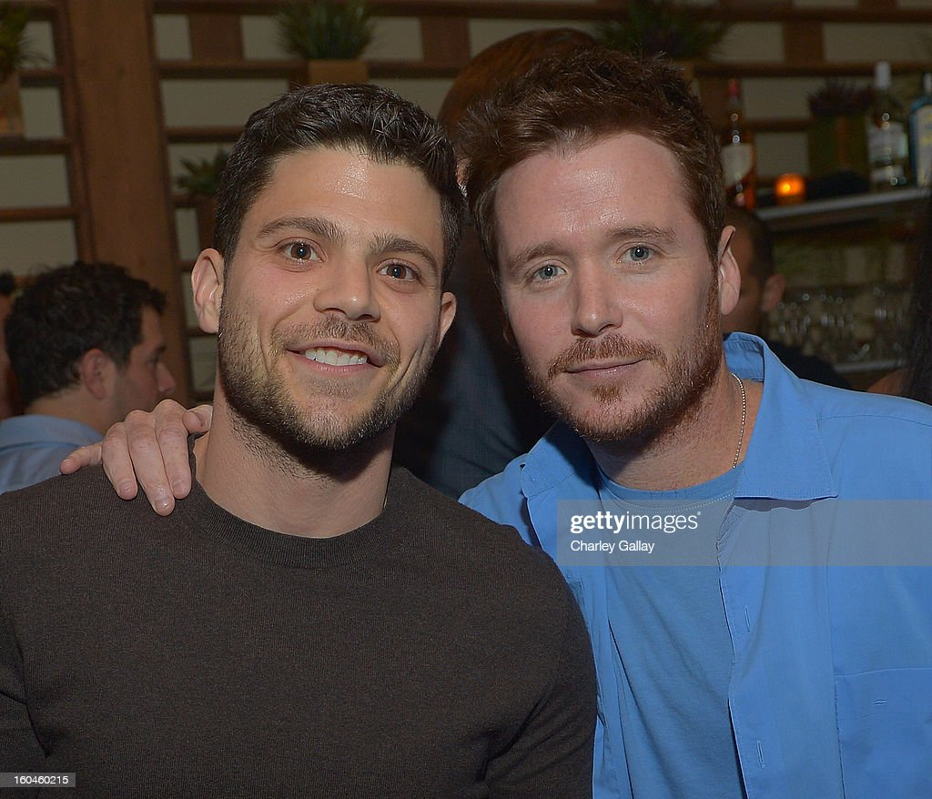 Actors Jerry Ferrara (L) and Kevin Connolly attend the Grand Opening of RivaBella Ristorante on January 31, 2013 in West Hollywood, California.
