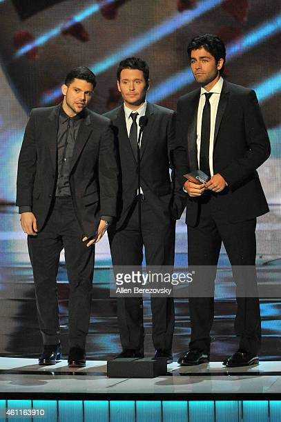 Actors Jerry Ferrara, Kevin Connolly and Adrian Grenier speak onstage during the 41st Annual People's Choice Awards at Nokia Theatre LA Live on...