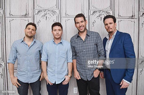 Actors Jerry Ferrara Kevin Connolly writer Doug Ellin and actor Kevin Dillon attend AOL BUILD Speaker Series The Cast Of Film Entourage at AOL...