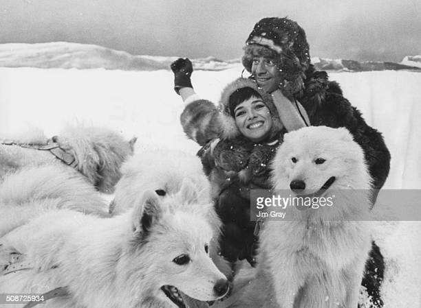 Actors Jerry Lewis and Jacqueline Pearce filming a snow scene complete with sled dogs for the film 'Don't Raise the Bridge Lower the Bridge' at...