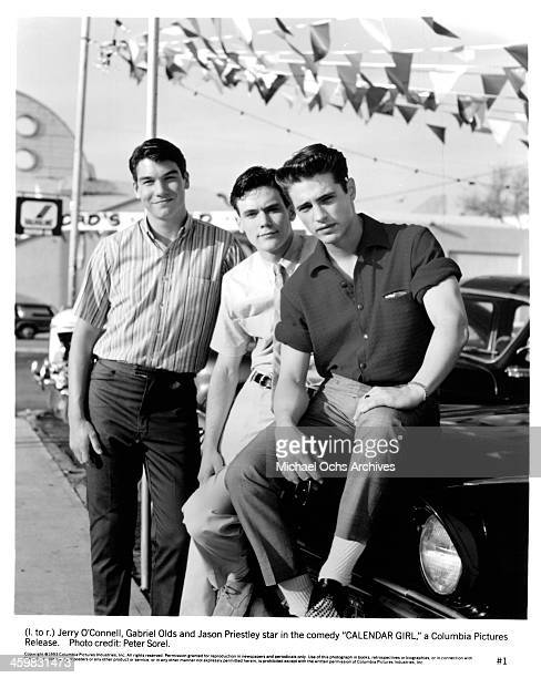 Actors Jerry O'Connell Gabriel Olds and Jason Priestley pose on set of the movie ' Calendar Girl ' circa 1993