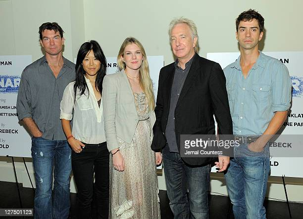 Actors Jerry O'Connell Hettienne Park Lily Rabe Alan Rickman and Hamish Linklater pose for a photo during the 'Seminar' on Broadway cast photocall at...