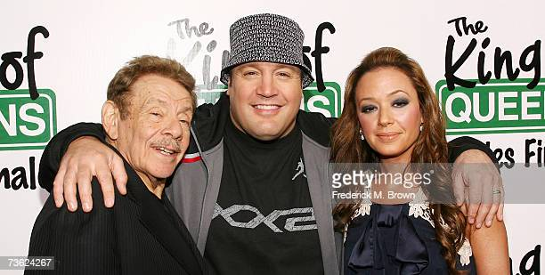 "Actors Jerry Stiller and Kevin James and actress Leah Remini attend ""The King of Queens"" final season wrap party at Boulevard 3 on March 17, 2007 in..."