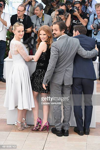 Actors Jess Weixler Jessica Chastain director Ned Benson and James McAvoy attend 'The Disappearance Of Eleanor Rigby' photocall at the 67th Annual...