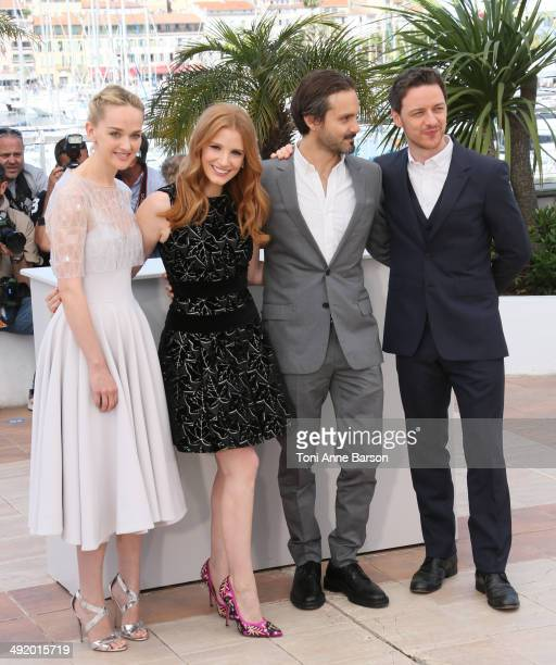 Actors Jess Weixler Jessica Chastain director Ned Benson and James McAvoy attends 'The Disappearance Of Eleanor Rigby' photocall at the 67th Annual...