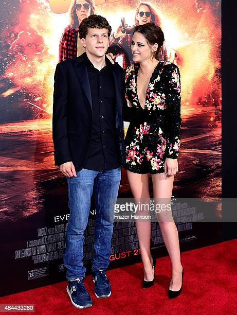 Actors Jesse Eisenberg and Kristen Stewart attend PalmStar Media And Lionsgate's American Ultra premiere at the Ace Theater Downtown LA on August 18...