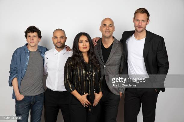 Actors Jesse Eisenberg Michael Mando Salma Hayek director Kim Nguyen and Alexander Skarsgard from 'The Hummingbird Project' are photographed for Los...