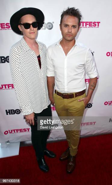 Actors Jesse Haddock and Thomas Dekker attend the 2018 Outfest Los Angeles opening night gala screening of 'Studio 54' at the Orpheum Theatre on July...