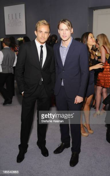 Actors Jesse Johnson and Chord Overstreet attend ELLE's 20th Annual Women In Hollywood Celebration at Four Seasons Hotel Los Angeles at Beverly Hills...