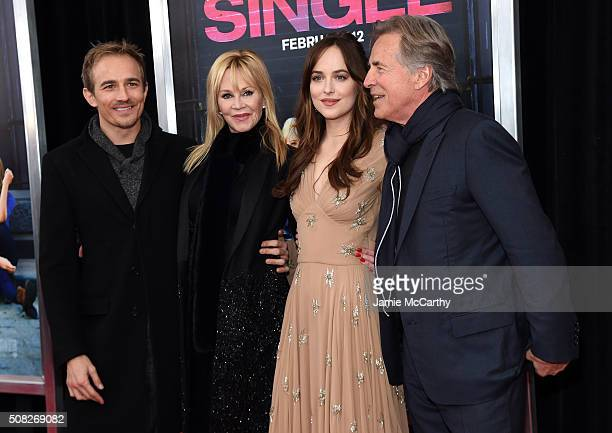 Actors Jesse Johnson Melanie Griffith Dakota Johnson and Don Johnson attend the New York premiere of How To Be Single at the NYU Skirball Center on...