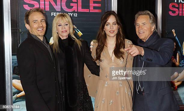 Actors Jesse Johnson Melanie Griffith Dakota Johnson and Don Johnson attend the How To Be Single New York premiere at NYU Skirball Center on February...