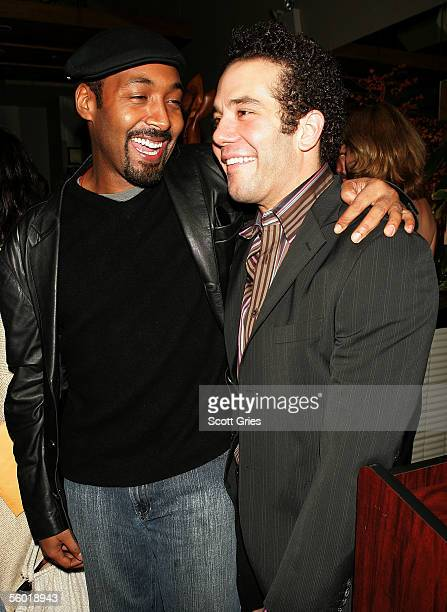 Actors Jesse L Martin and Aaron Lohr attend the afterparty for 'See What I Wanna See' the first production in The Public Theaters 200506 downtown...