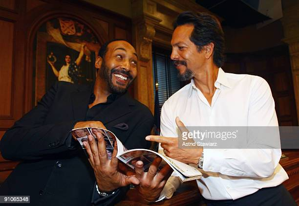 Actors Jesse L Martin and Benjamin Bratt attend the 'Law Order' 20th Season kickoff celebration at the Law Order Studio At Chelsea Piers on September...