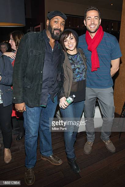 Actors Jesse L Martin Krysta Rodriguez and Zachary Levi attend the Paul Rudd 2nd Annual AllStar Bowling Benefit at Lucky Strike on October 21 2013 in...