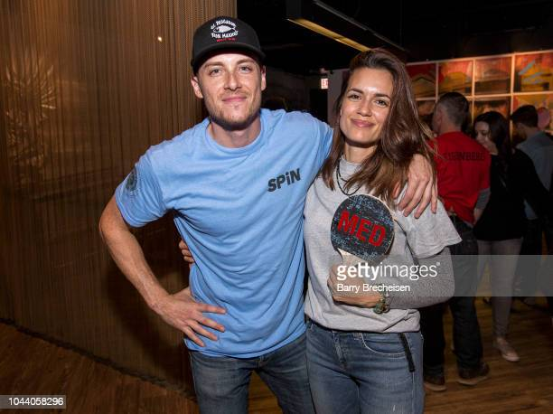 Actors Jesse Lee Soffer and Torrey DeVitto during the 2018 Cast Paddle Battle between the Chicago Fire PD vs Chicago Fire vs Chicago Med at SPiN...